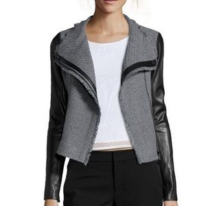 Vince Boucle tweed and leather jacket